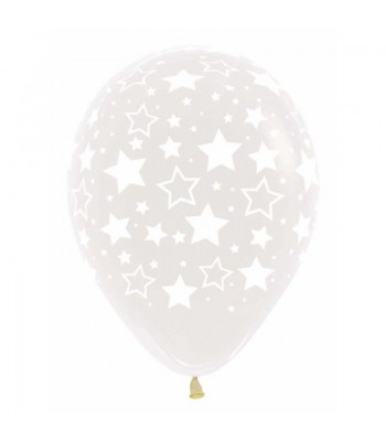 Latex Balloons - Printed - Clear Stars