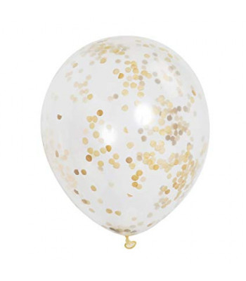Clear Latex Balloon with Gold Confetti