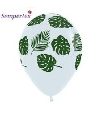 Latex Balloons - Printed - Green Leaves on Crystal Clear