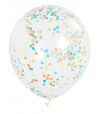 Clear Latex Balloon with Multicoloured Confetti