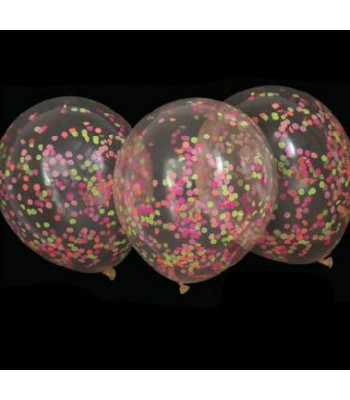 Clear Latex Balloon with Glow in the Dark Confetti