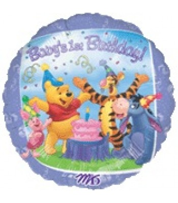 Foil Balloons - Birthday Ages - Pooh & Friends 1st Birthday