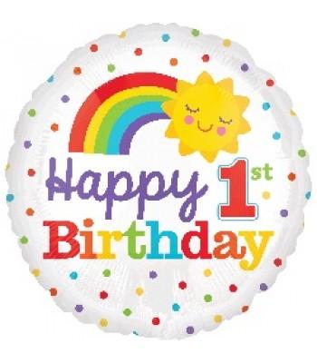 Foil Balloons - Birthday Ages - 1st Birthday Rainbow