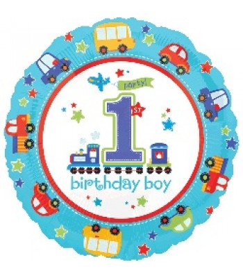 Foil Balloons - Birthday Ages - All Aboard Birthday 1st