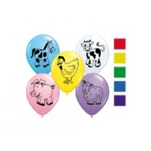 Latex Balloons - Printed - Farm Friends Assorted
