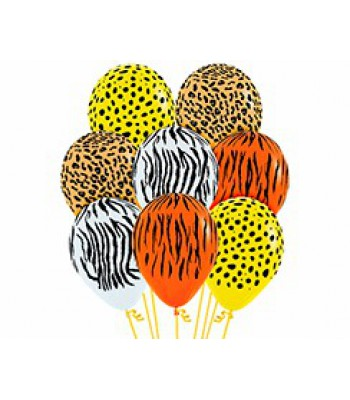 Latex Balloons - Printed - Jungle Assorted (Animal Prints)