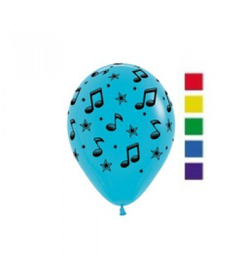 Latex Balloons - Printed - Musical Notes Assorted