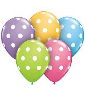 Latex Balloons - Printed - White Polka Dots Assorted