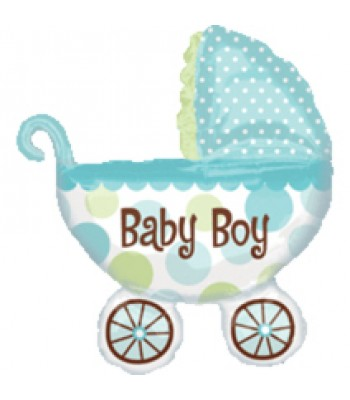 Super Shape Foil Balloon - Baby Boy Pram