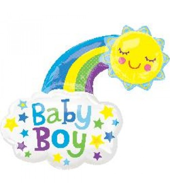 Super Shape Foil Balloon - Baby Shower -Baby Boy Rainbow