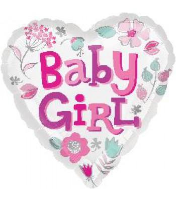 Foil Balloons - Baby Shower - Baby Girl Heart