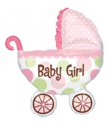 Super Shape Foil Balloon - Baby Shower -Baby Girl Pram