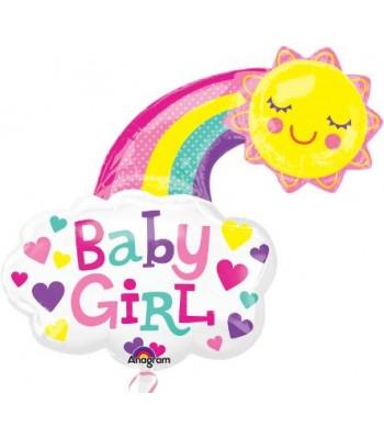 Super Shape Foil Balloon - Baby Shower -Baby Girl Rainbow