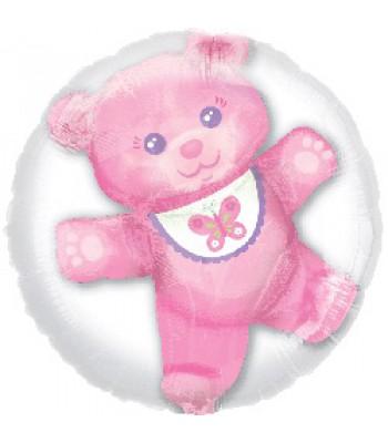 Jumbo Foil Balloons - Baby Girl Teddy Bear