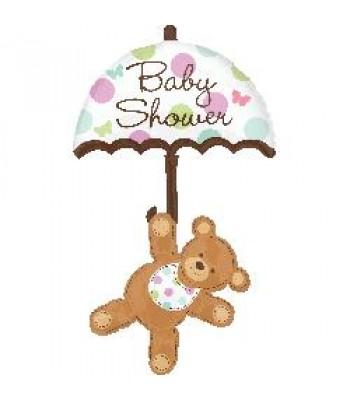 Super Shape Foil Balloon - Baby Shower -Baby Shower Bear Umbrella