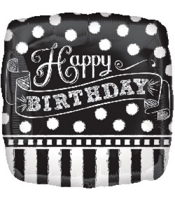 Foil Balloons - Birthday - Black and White Chalkboard