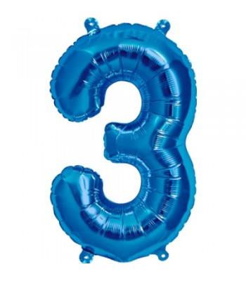Foil Balloons - Numbers - 3 - Blue