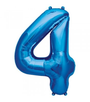 Foil Balloons - Numbers - 4 - Blue