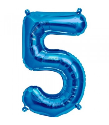 Foil Balloons - Numbers - 5 - Blue