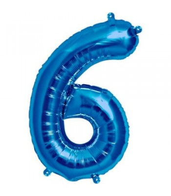 Foil Balloons - Numbers - 6 - Blue