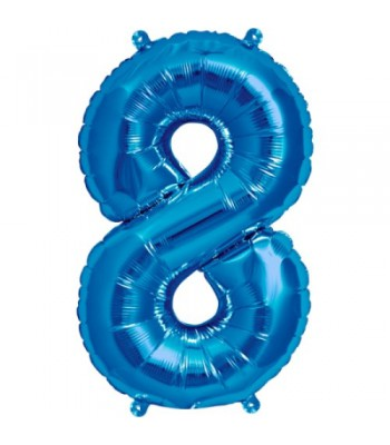 Foil Balloons - Numbers - 8 - Blue