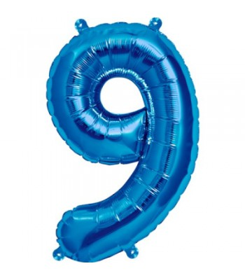 Foil Balloons - Numbers - 9 - Blue
