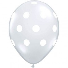 Latex Balloons - Printed - Clear With White Polka