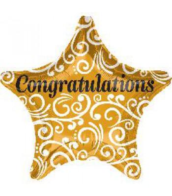 Foil Balloons - Special Message - Congrats Gold Star