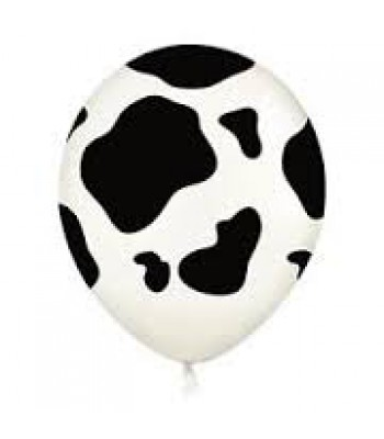 Latex Balloons - Printed - Black and White Cow Print
