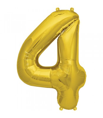 Foil Balloons - Numbers - 4 - Gold