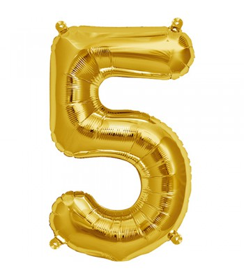 Foil Balloons - Numbers - 5 - Gold