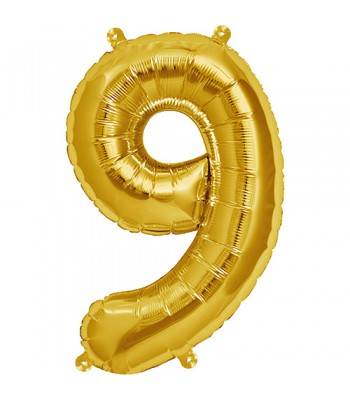 Foil Balloons - Numbers - 9 - Gold