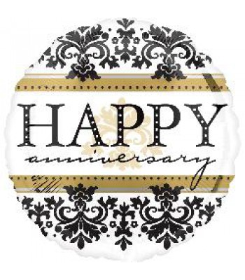 Foil Balloons - Special Message - Happy Anniversary Damask