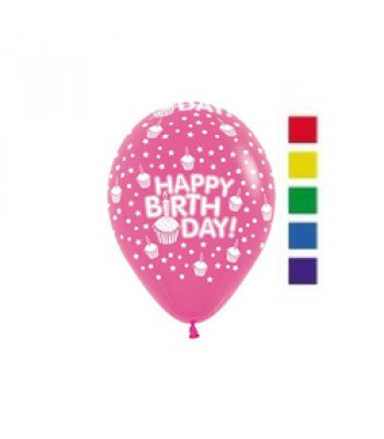 Latex Balloons - Printed - Happy Birthday Cupcakes Assorted