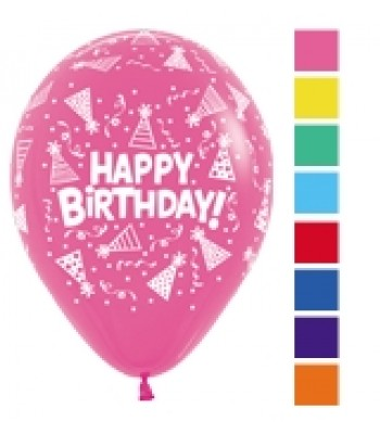 Latex Balloons - Printed - Happy Birthday Hats and Streamers Assorted