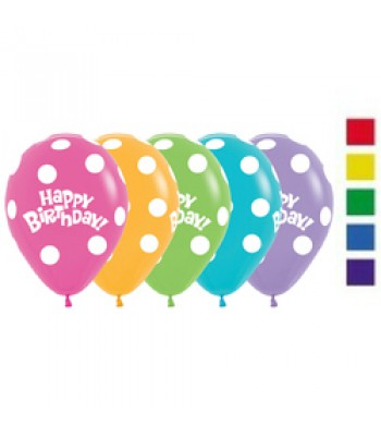 Latex Balloons - Printed - Happy Birthday Polka Dots Assorted