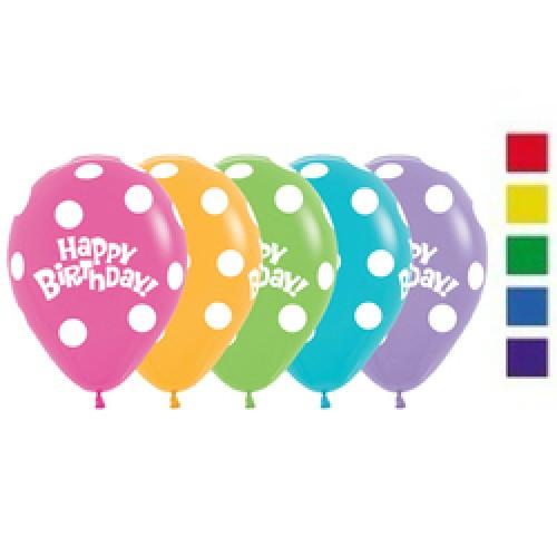 Latex Balloons - Printed - Happy Birthday Polka Dots Assorted