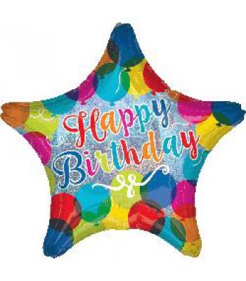 Foil Balloons - Birthday - Holo HBD Sparkle Balloons