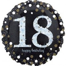Foil Balloons - Birthday Ages - Holo Sparkling Birthday 18