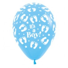 Latex Balloons - Printed - Baby Shower - Blue footprints