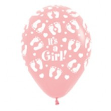 Latex Balloons - Printed - Baby Shower - Pink footprints