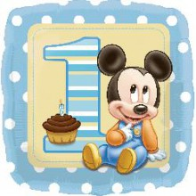 Foil Balloons - Birthday Ages - Mickey 1st Birthday Baby Boy