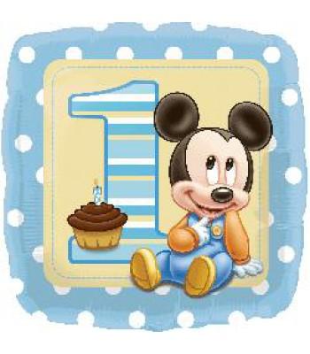 Foil Balloons - Birthday Ages - Mickey 1st Birthday Baby Boy