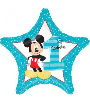 Foil Balloons - Birthday Ages - Mickey 1st Birthday Shape