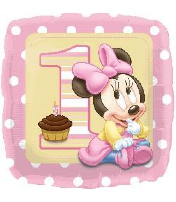Foil Balloons - Birthday Ages - Minnie 1st Birthday Baby Girl