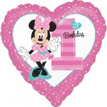 Foil Balloons - Birthday Ages - Minnie 1st Birthday Girl