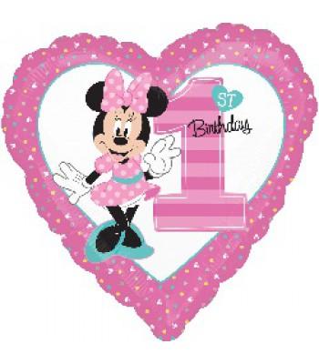 Foil Balloons - Birthday Ages - Minnie 1st Birthday Girl