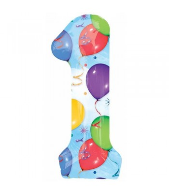 Foil Balloons - Numbers - 1 - Multicoloured