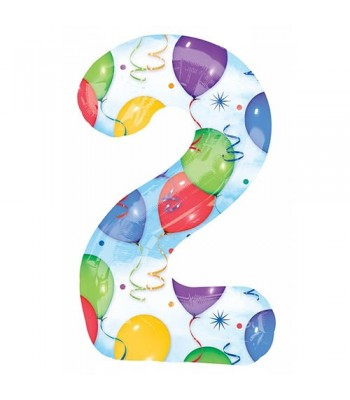 Foil Balloons - Numbers - 2 - Multicoloured