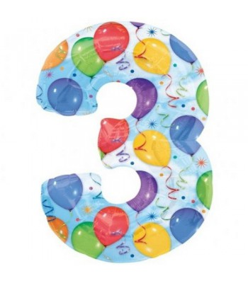 Foil Balloons - Numbers - 3 - Multicoloured